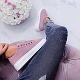 Женские стильные кроссовки розовые / пудра эко -замш, фото 10