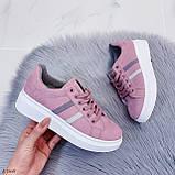 Женские стильные кроссовки розовые / пудра эко -замш, фото 9