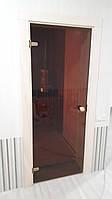 Стеклянные двери для сауны и бани SILEX - Прозрачная Бронза - Универсальные 800x1900