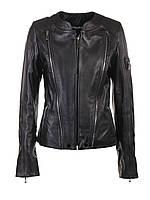 Куртка кожаная женская VK черная короткая (Арт. FLO201)