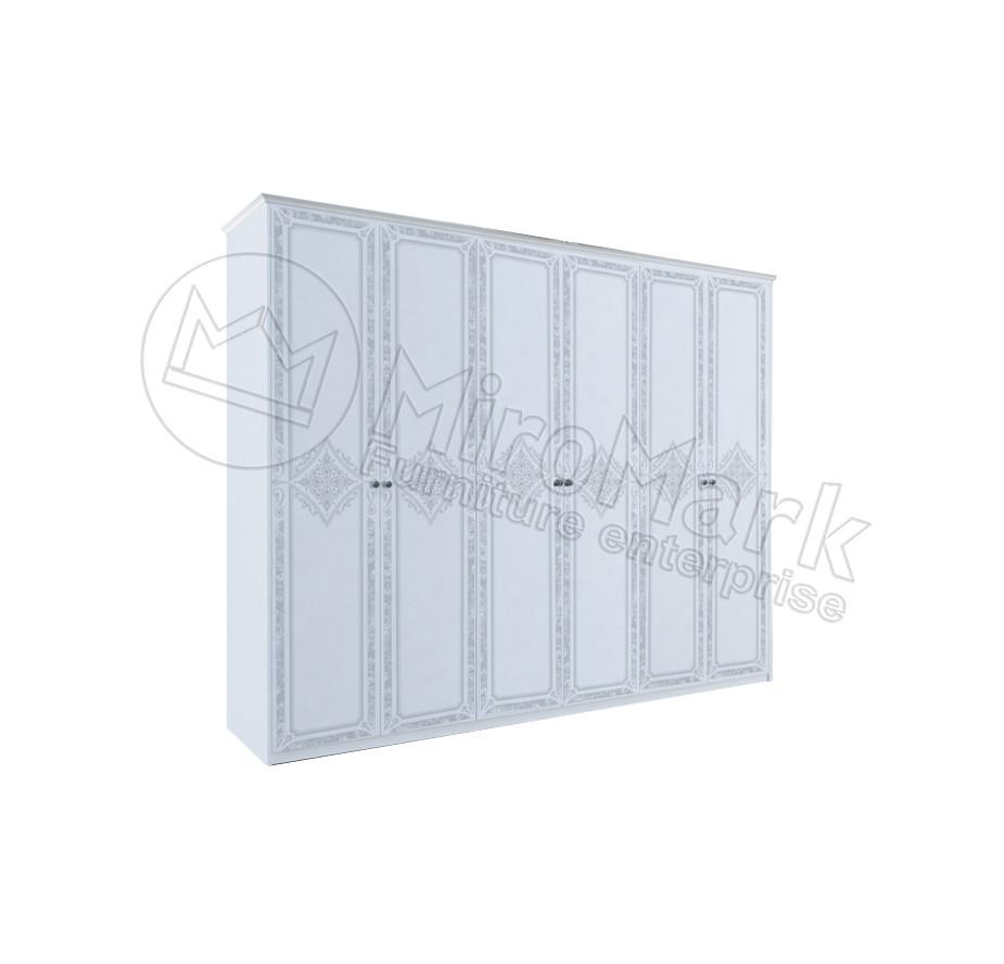 Шкаф Луиза 6 дв без зеркал Белый глянец ТМ Миро-Марк