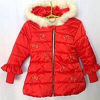 Куртка демисезонная детская для девочки с рисунком Бант 1-3 года, красного цвета