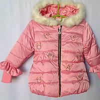 Куртка демисезонная детская для девочки с рисунком Бант 1-3 года, розового цвета