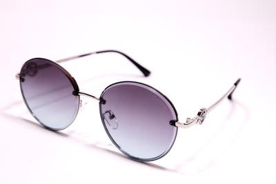Очки солнцезащитные круглые, безоправные, с фиолетово-розовыми стёклами, нарядные, женские