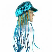 Кепка женская с косичками (голубая), Парики