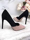 Женские туфли лодочки на шпильке черно-бежевые замш, фото 2