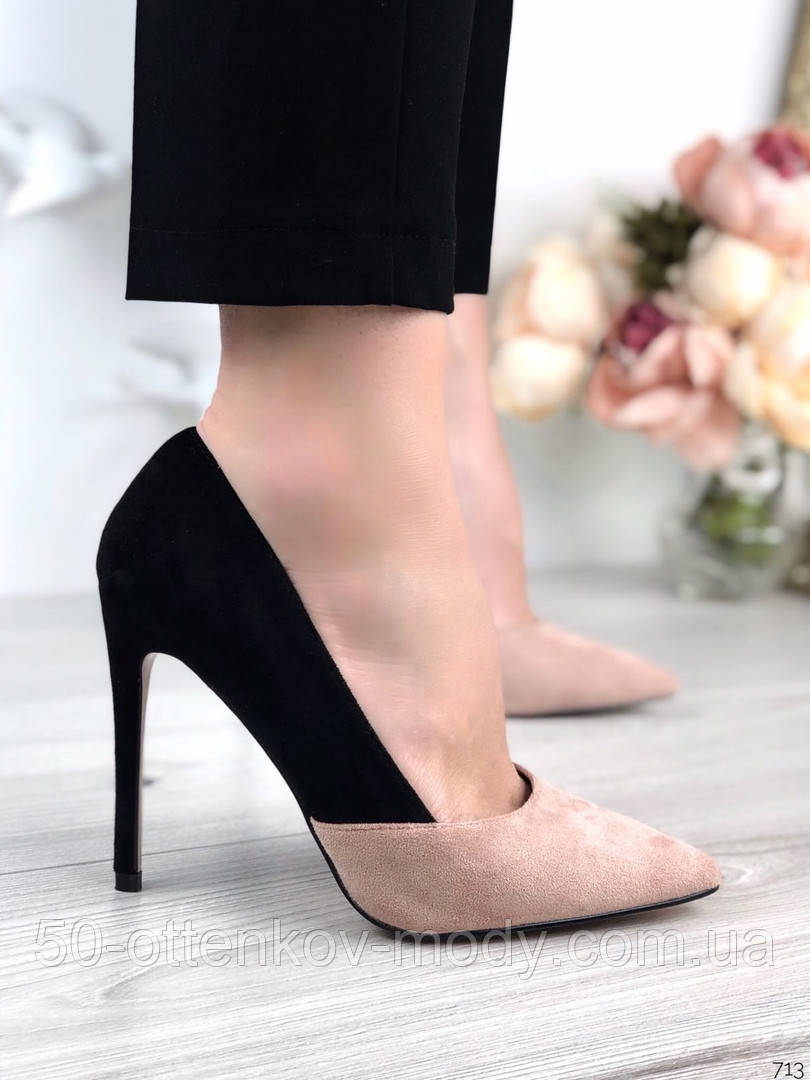 Женские туфли лодочки на шпильке черно-бежевые замш