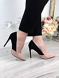 Женские туфли лодочки на шпильке черно-бежевые замш, фото 3