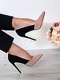 Женские туфли лодочки на шпильке черно-бежевые замш, фото 4