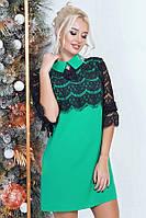 Платье женское с гипюром на рукавах и груди, черное с зеленым