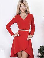 Платье женское с шлейфом и вырезами на плечах, красное. S - 42