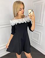 Платье женское с белым кружевом и сеткой, черное