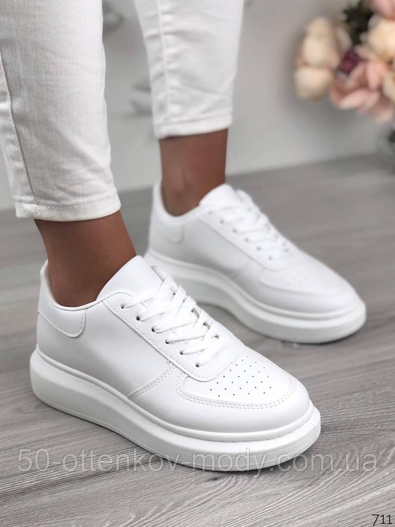 Женские кроссовки Nike белые эко кожа