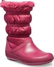 Сапоги зимние женские непромокаемые дутики с мехом / Crocs Women Crocband Winter Boot (205314), Гранатовые 38