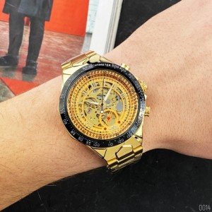 Чоловічий годинник Winner 8067 Gold-Black-Gold Cristal Red