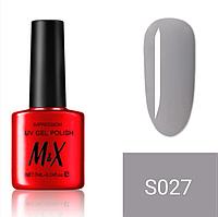 Гель-лак для ногтей фирмы M&X 7ml серый,светло-серый, нежно серый, глянцевая серия