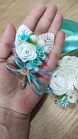Бутоньєрка весільна Rose. Колір тіффані.