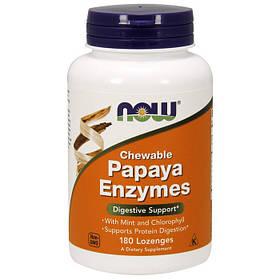 Фермент папайи NOW Papaya Enzyme Chewable 180 lozenges