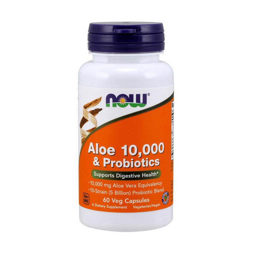 Алое віра і пробіотики NOW Aloe 10,000 & Probiotics 60 veg caps