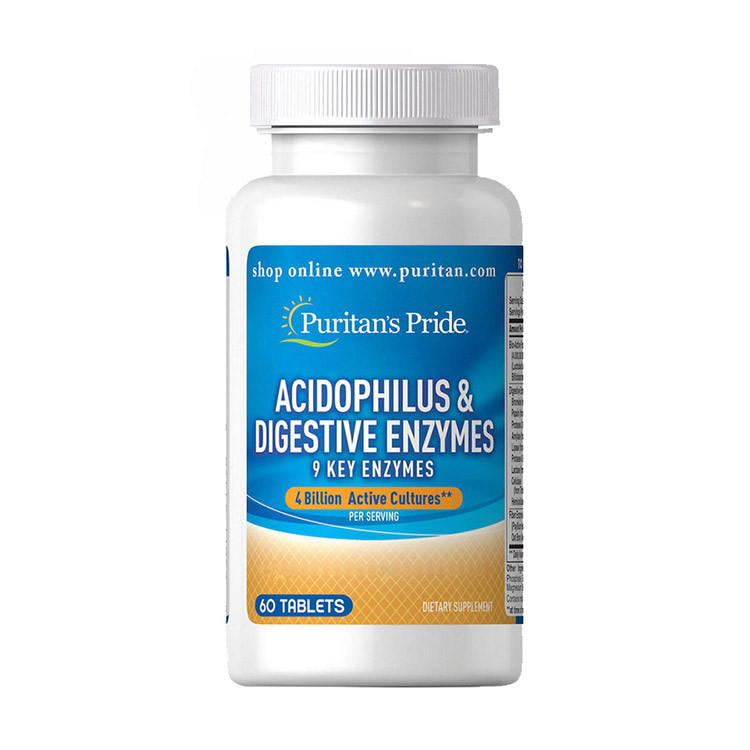 Пробіотики Puritan's Pride Acidophilus & Digestive Enzymes 60 tabs