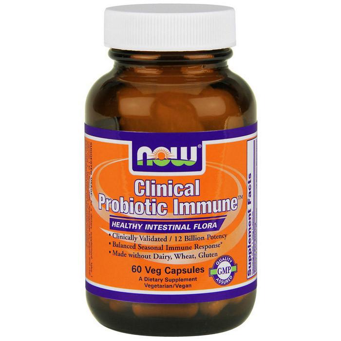 Суміш пробіотичних бактерій NOW Clinical Probiotic Immune 60 veg caps