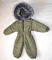 Детский зимний комбинезон человечек для мальчика 1-2 года, цельный, сдельный, слитный хаки, фото 1
