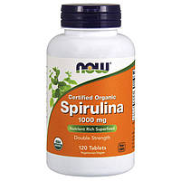 Спирулина NOW Spirulina 1000 mg certified organic 120 tabs