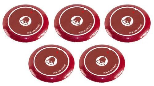 Фото: кнопки виклику офіціанта HCM-1000 Red Bell - 5 штук - комплект системи виклику RECS №11