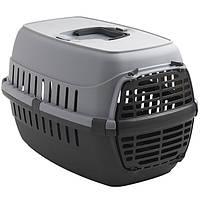 Переноска Moderna МОДЕРНА для собак и кошек с пластиковой дверью, серый | 51х31х34 см