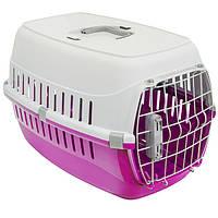 Переноска Moderna МОДЕРНА для собак с металлической дверью IATA, ярко-розовый | 58х35х37 см