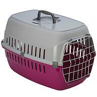 Переноска Moderna МОДЕРНА для собак с металлической дверью, ярко-розовый | 58х35х37 см