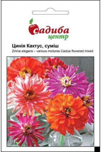"""Семена цветов Цинния Кактус смесь, однолетнее, 0,5 г  """"Хем Заден"""", Нидерланды."""