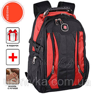 Надежный швейцарский рюкзак  7620, черно-красный