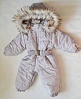 Детский зимний комбинезон человечек для мальчика 1-2 года, цельный, слитный, сдельный серый, фото 1