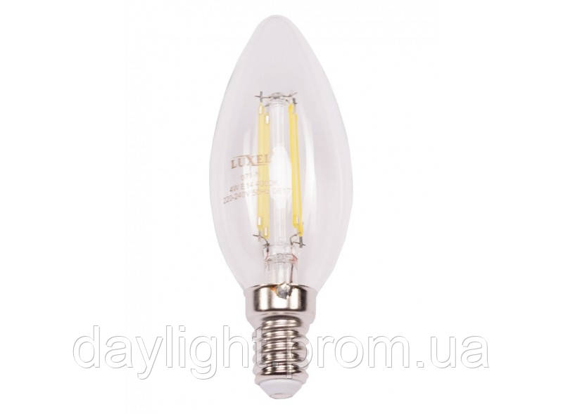 Лампа светодиодная филамент свеча 4W 3000k E14 Luxel