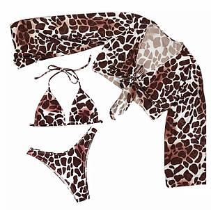 Купальник роздільний 3 в 1 з накидкою принт жираф, фото 2