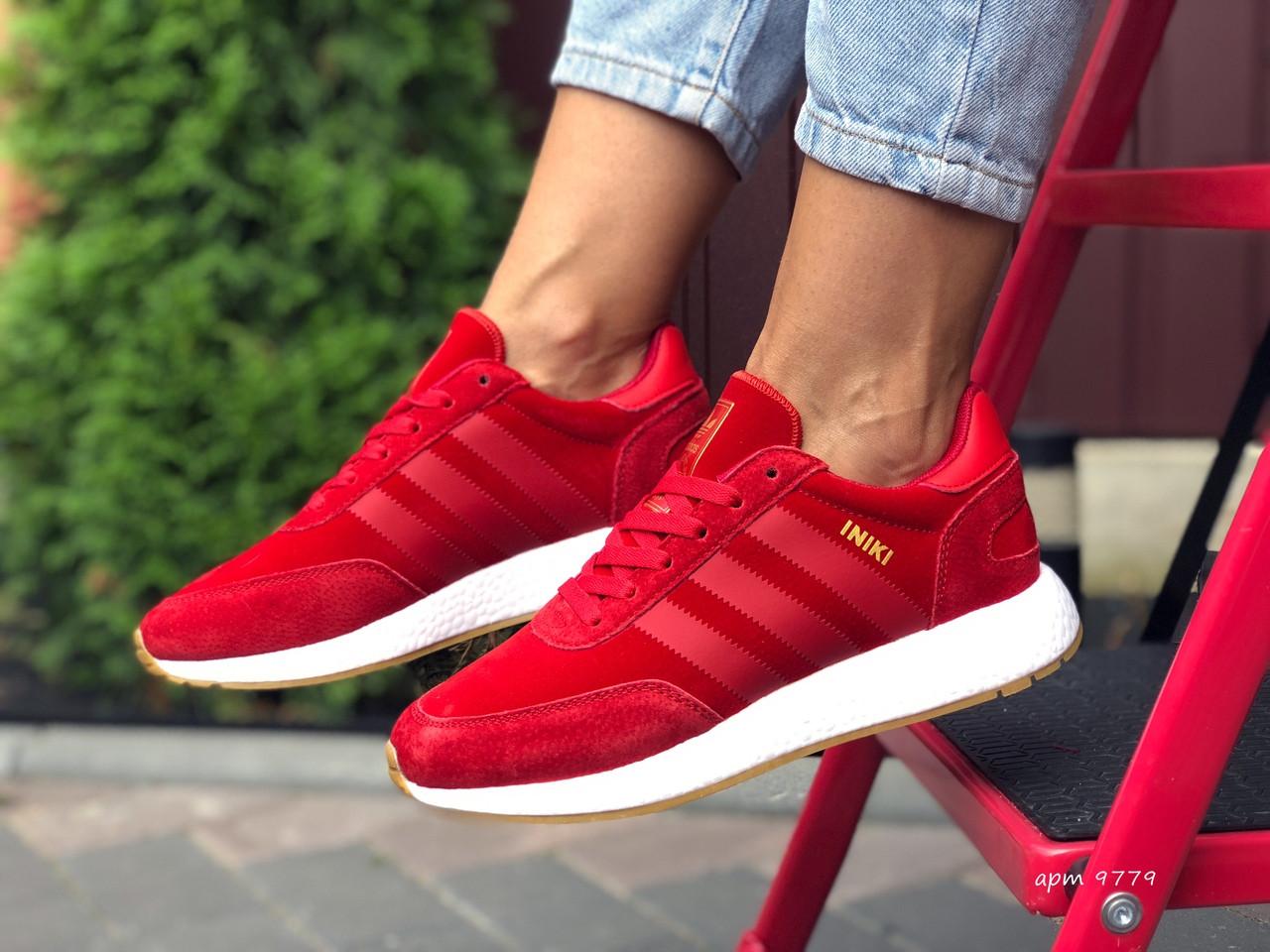 Кроссовки женские Adidas Iniki, красные / кросівки жіночі Адидас червоні Иники (Топ реплика ААА+)