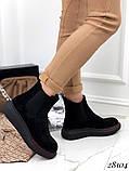 Женские демисезонные ботинки с резиновыми вставками из эко замши, фото 2