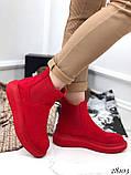 Женские демисезонные ботинки с резиновыми вставками из эко замши, фото 3