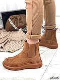 Женские демисезонные ботинки с резиновыми вставками из эко замши, фото 5