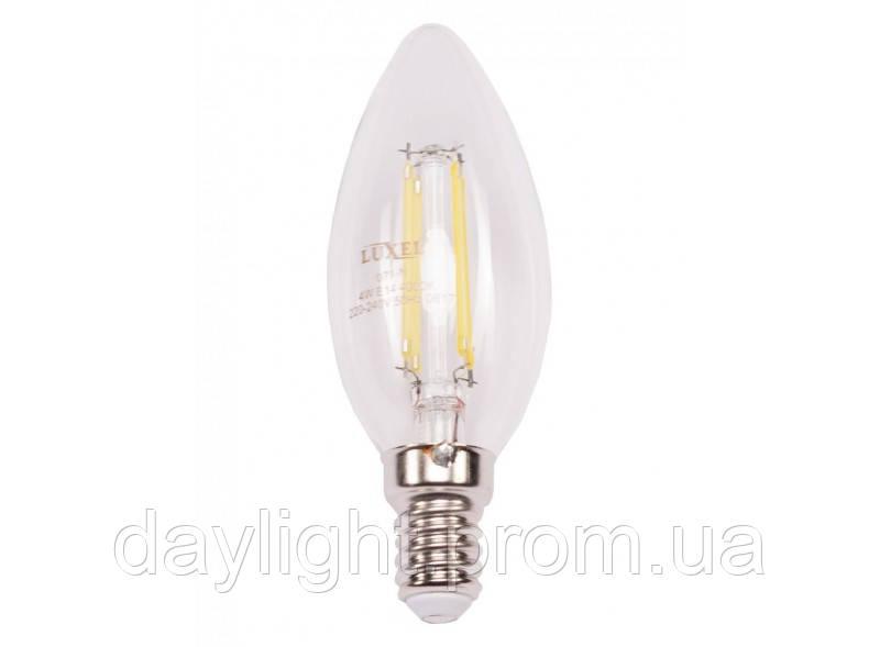 Лампа светодиодная филамент свеча 4W 4000k E14 Luxel