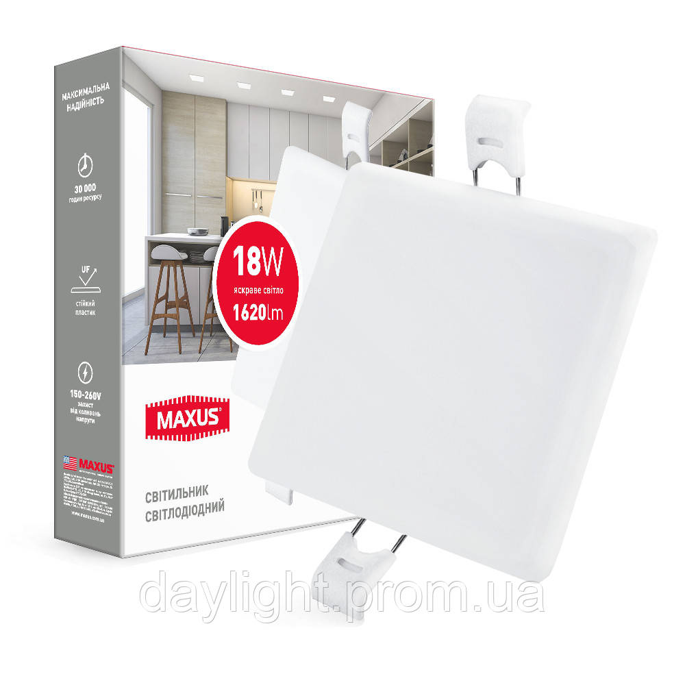 Врезной светильник MAXUS SP edge 18W 4100К квадрат