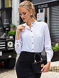 Белая блузка с воротником-стойкой и длинным рукавом, фото 2