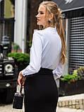 Белая блузка с воротником-стойкой и длинным рукавом, фото 3