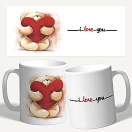 """Чашка с принтом """"I love you, я тебя люблю"""""""