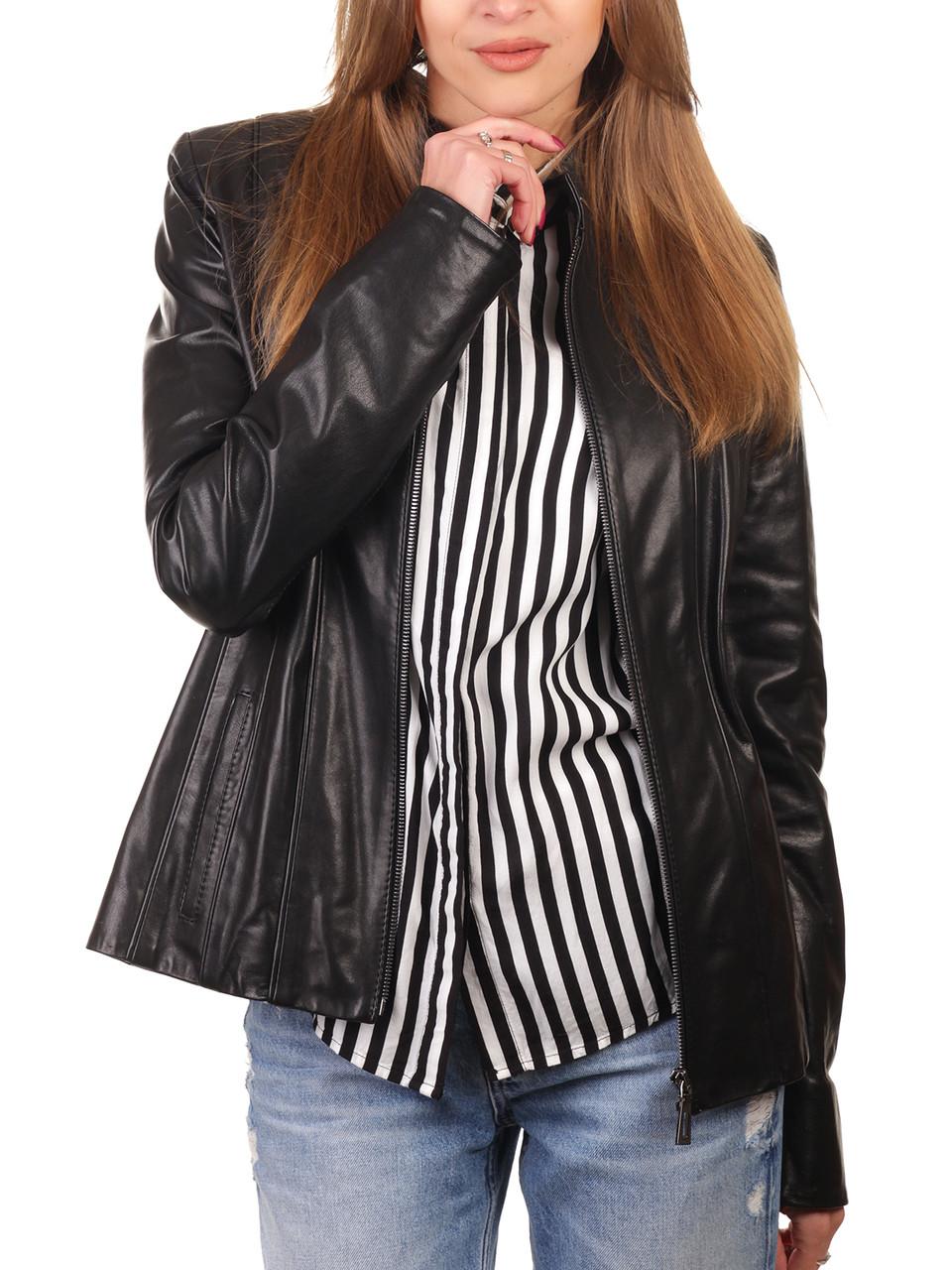 Короткая кожаная куртка женская черная (Арт. NOV201-2)