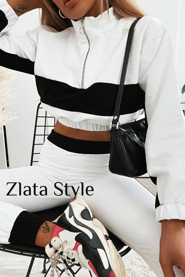 Женский спортивный костюм из двунитки топ под горло и брюки с лампасами