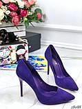 Жіночий туфлі човники на шпильці з еко замші, багато квітів, фото 9