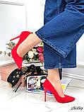 Жіночий туфлі човники на шпильці з еко замші, багато квітів, фото 8