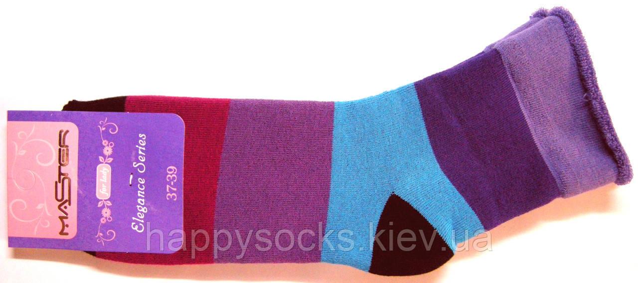 Носки женские теплые без резинки в цветную полоску